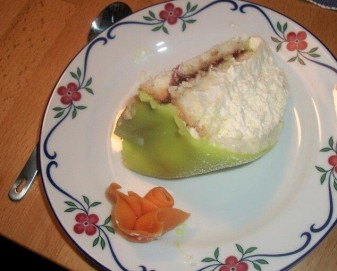 Princess Cake, from my name day, that my relatives got me, during my week in Sweden. My cousin, who is a chef, says this is the correct way to do Princess cake. She sent me a recipe, but I've only ever tried a Tres Leches Princess cake highbred (it was too much, actually)