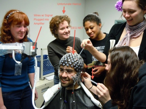 Me learning how to use an EEG net, with other students in my undergraduate cognitive neuroscience class.  I'm second from the left in the back. I was experimenting with cutting my own hair, it was not going well, at this time, but results have improved since! Image source: http://magazine.scrippscollege.edu/2011-spring/inside-the-brain.